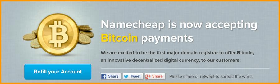 Namecheap Bitcoin Payments