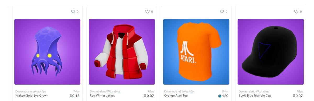 OpenSea Decentraland Wearables