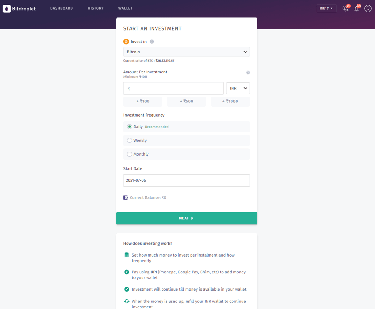 Bitbns BitDroplet Investment Calculator