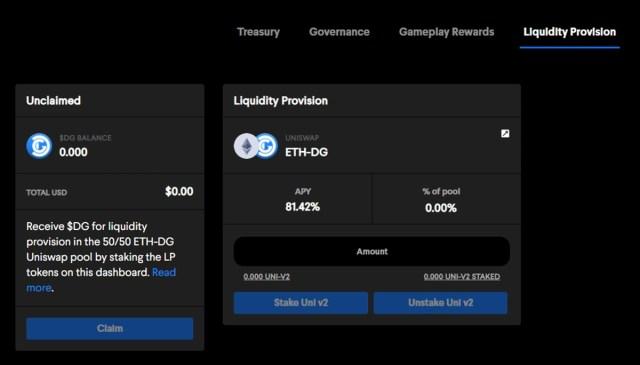 Decentral Games Liquidity Pools