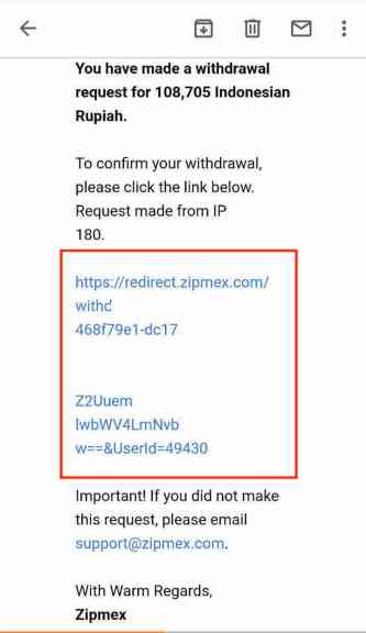 Zipmex How to Withdraw 5 Email 2