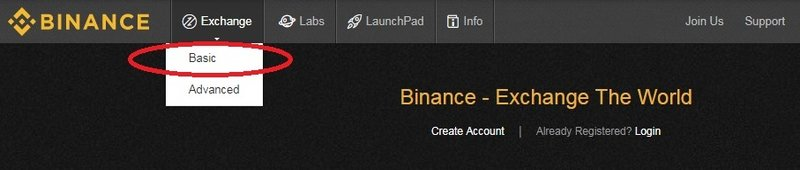 click exchange on binance