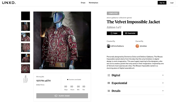 The most expensive fashion NFT series with the first auction value of 5.65 million US dollars released