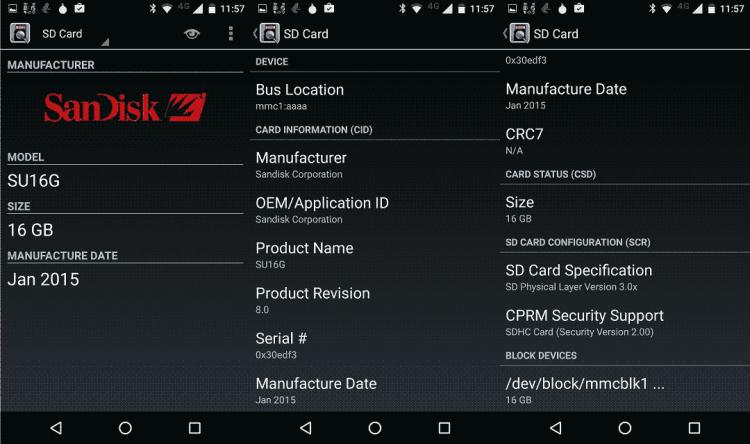 informações sobre o cartão SD Sandisk