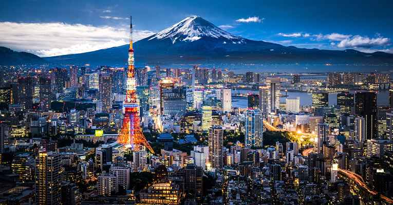 Vista do Monte Fuji de Tokyo