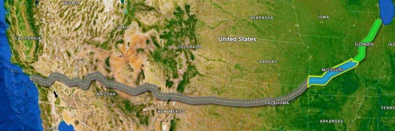 Mapa da Rota 66 com destaque do trecho de Missouri