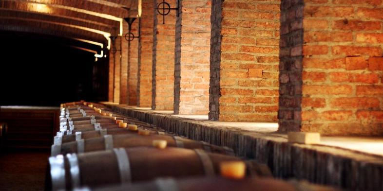 Uma das caves da vinícola Undurraga que visitamos durante o tour