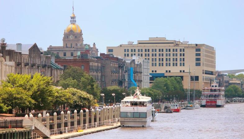 A orla do rio Savannah vista de dentro do Savannah River Queen
