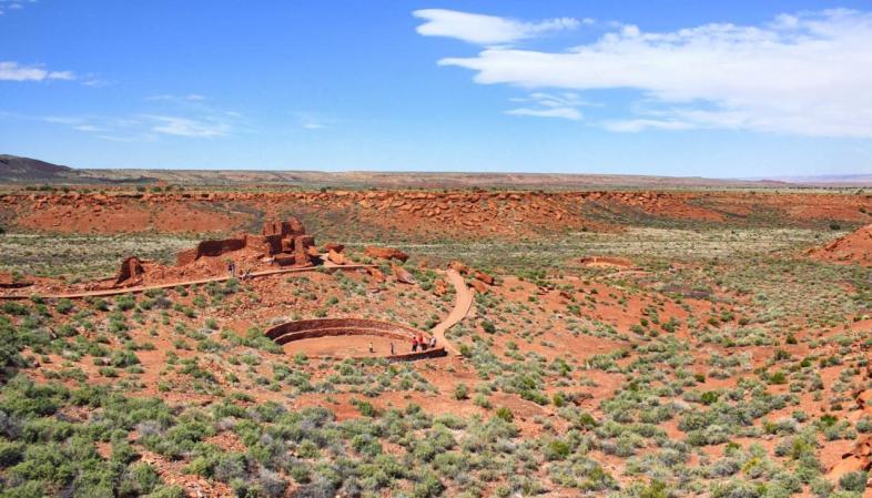 As ruínas indígenas de Wupatki representam edificações variadas espalhadas por uma ampla área