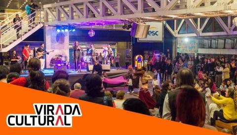 Apresentação de dança e música árabe durante a Virada Cultural 2017 no Sesc Vila Mariana