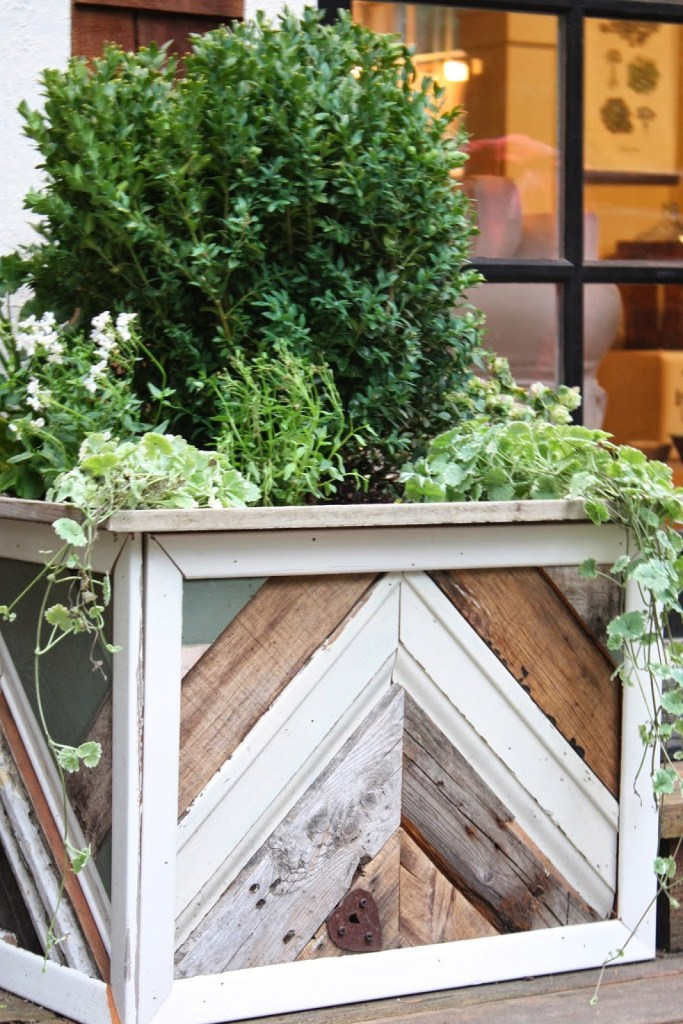 Reclaimed Wood Chevron Planters