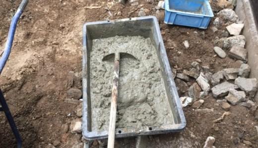 裏庭に土間コンクリート施工①・セメントの練り方・割合(素人DIY)