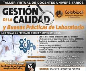 Taller Virtual de Docentes Universitarios - Gestión de la calidad y Buenas Prácticas de Laboratorio