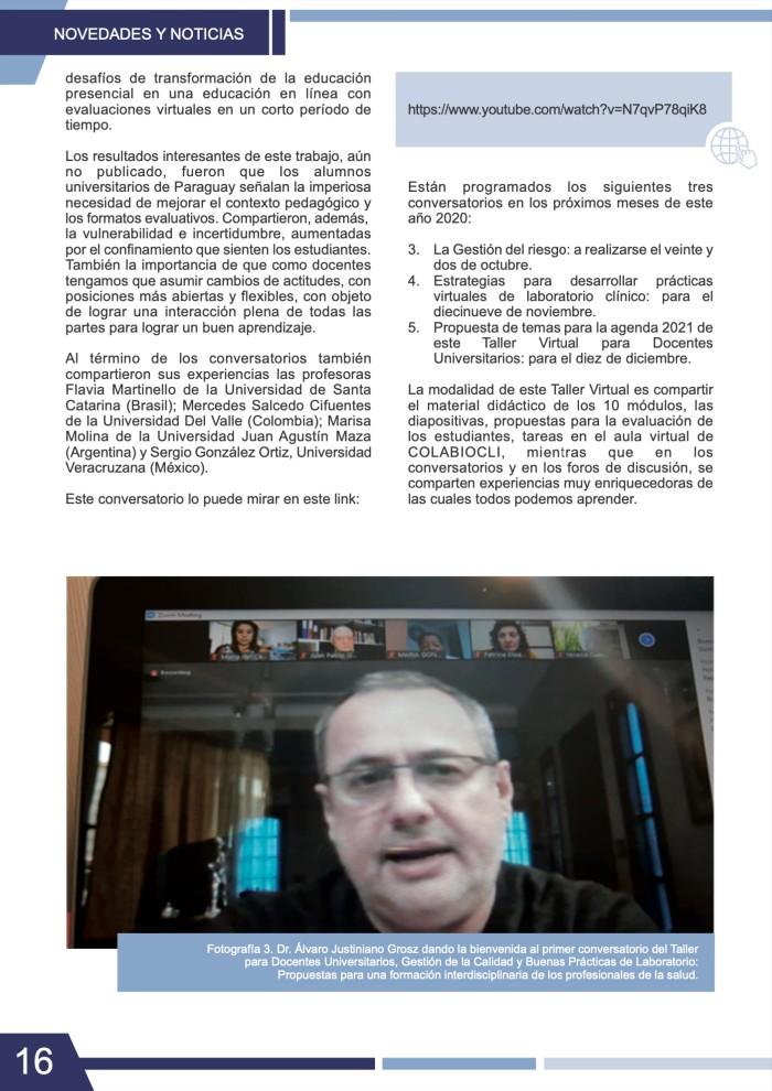 Participación del Dr. Álvaro Justiniano Grosz Revista IN VITRO Nº 16