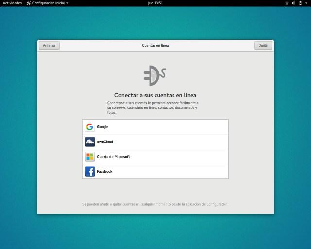 Cuentas en línea en Ubuntu GNOME