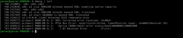 Imagen de la salida del comando dmesg en una terminal.