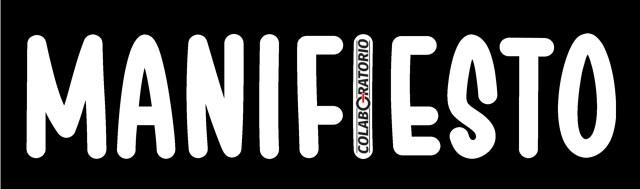 Cartel apaisado con la palabra Manifiesto y una I con el logo de Colaboratorio.