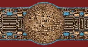 Imagen con circuitos impresos de fondo y una esfera en primer plano con multitud de imágenes de caras.