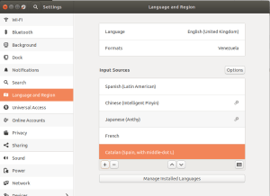 Ubuntu: «Settings» y «Language and Region»