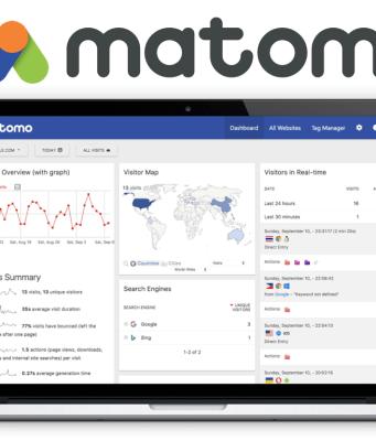 Logotipo de Matomo y ejemplo de las estadísticas que muestra como aplicación.