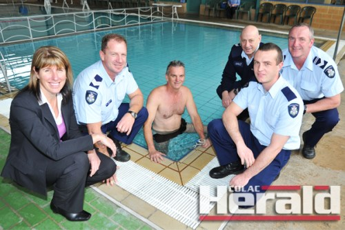 Colac and district police officers are training for a 24-hour swim challenge. From left, Senior Detective Leanne Busfield, Sergeant Dan Willsmore, Leading Senior Constable Laurie Hill, Leading Senior Constable Peter Scanlon (back), Constable Daniel Ward and Leading Senior Constable Andrew Harris.