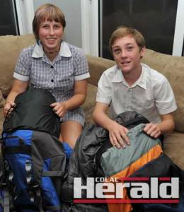 German exchange student Eve Heinrich and host brother Thomas Brentwood-Balcombe completed a 24-hour relay hike along the Great Ocean Walk.