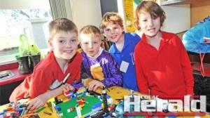 Colac District Brick Club members Austin Finn, Aidan Finn, Jake Ballagh and Cohen Chapman.