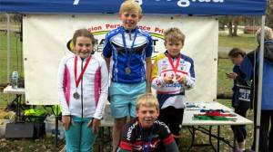 Colac district's junior cyclists, back from left, Kate Allan, Rupert McDonald, Ty Widdicombe and Hamish McDonald all won through to the Victorian Schools Cycling Championships Road state final at Bendigo in October.