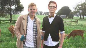 A documentary about homophobia featuring Melbourne comedians Joel Creasey, left, and Rhys Nicholson will air on the ABC TV next month. The pair made the documentary in Colac.