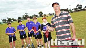 Colac Secondary College PE teacher Martin Rieniets says his school's sports programs benefit from use of Colac's Central Reserve and he would like to see the ground's facilities upgraded for all users. Mr Rieniets is pictured with Year Eight students, from left, Jordan Kunda, Nicholas Boylan, Jacob Sweeny, Justin Smart, Jayden Neale.
