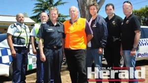 A travelling conmen taskforce is in Colac, including, from left, Victorian Sheriff's Office's Christopher Conway, Brian Bissell, Colac's Senior Sergeant Ken Slingsby, Fair Trading NSW's Geoff Burnes and David Rosenberg, Consumer Affairs Victoria's John Mullaney and Philip Hunter.