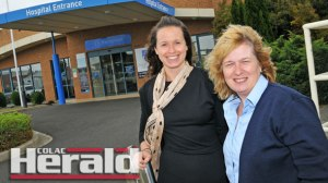 Colac Area Health's health promotions co-ordinator Erin McClusky, left,  and the hospital's tobacco treatment specialist Di O'Dowd are happy new state-wide  bans will stop people from smoking within four metres of the hospital entrance.