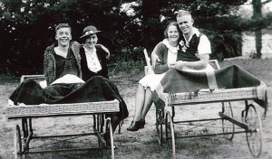 """Colac Hospital polio patient Alf """"Ray"""" Minchinton, right, in 1937 with a fellow polio patient and friends, names unknown."""
