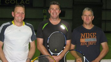 Colac Indoor tennis Men's A-Grade team Coasters, from left, Paul Walters, Jason Langdon and Darren Rosevear won back-to-back finals.