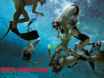 Underwater rugby is a fast-paced game which bears no resemblance to land rugby.  CREDIT: Shuaib Yeung