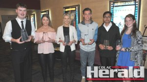 Winners of the 2015 COOL Awards display their trophies, from left, Nathan Bailey, Leah Cuthbertson, Rachel Richardson, Cooper Stephens, Saroj Timilsina and Rececca Brown.