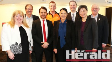 Opposition trades spokeswoman Penny Wong, second from right, with Colac Otway Shire Council chief Sue Wilkinson, mayor Frank Buchanan, Bulla's James Downey, AKD's Luke Vesey, Labor candidate Libby Coker, ALC's Mick Bird and Cr Brian Crook.