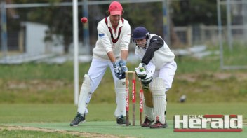 Irrewarra young gun Lachy Mulder, pictured in front of Colac's Luke Consedine, combined with teammate Scott McKenzie for a match-defining 68-run stand against Colac.