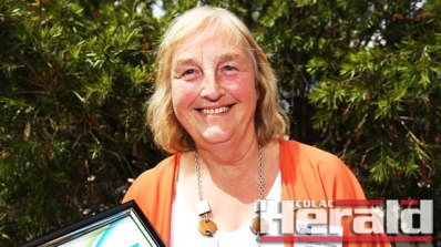 Colac district teacher Denise Hooke received Colac Otway Shire Council's Citizen of the Year award at yesterday's Australia Day celebrations at Birregurra.