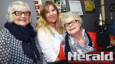 Apollo Bay's June Dunlop, right, recorded John Lennon's popular song Imagine along with her sister Martha Macintyre, left, and niece Lorna Macintyre yesterday. Recording the song is on a list of lifelong dreams that June is completing since receiving a terminal gall bladder cancer diagnosis six months ago.
