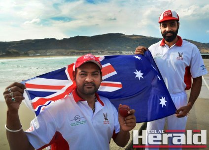 Apollo Bay's Parwinder Sidhu, left, and Dhanvir Dhaliwal have become popular cricketers in the coastal town. The pair celebrated becoming Australian citizens on Tuesday.