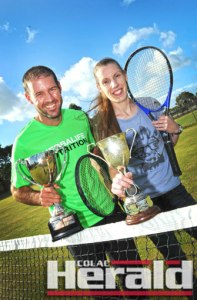 WINNERS: Jason Murnane and Cassandra Smith defended their Colac Lawn Tennis Club singles championships. They will be hot contenders in Polwarth's titles later this month.