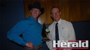 Colac Sportsmen's Club named international bull rider and national champion Adam Hinkley as Colac's Sports Star of the Year for 2015. Hinkley is pictured, left, with the sportsmen's club's Brett Smartt.