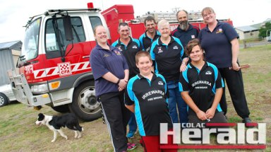 District Six will be among brigades that will compete at the Volunteer Fire Brigades of Victoria's State Rural Championships in Colac this weekend. Pictured, from back left, are Amanda Holt, coach David Oborne, Jordan Holt, assistant coach Dot McGee, David Anderson and Debbie Van Es. Front, Sebastian Van Es and Zak Anderson. Dog Lilly is also pictured.