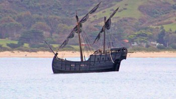 Visitors have toured the reconstructed 15th century ship Notorious that has been docked at Apollo Bay during Easter. The sailing ship has extended its stay at Apollo Bay harbour until Sunday.