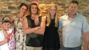 The Apollo Bay community has rallied to support the family of Bryan Noseda, pictured right with his family, from left, Isaac, Amber, Matt and Joey. Mr Noseda died after a road accident earlier this week.