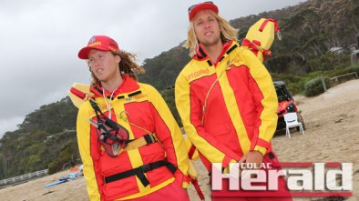 Wye River volunteer lifeguards Elliot McGeary, left, and Jack Slykhuis helped keep beach visitors safe during summer. There were a total of 10 rescues at the beach between July 1, 2015, and April 10, 2016.