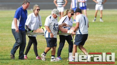 Colac Imperials recruit Michael Gray was hospitalised after he was knocked unconscious following a sling tackle. South Colac and Imps officials were quick to rush to his aid, from left, Stephen Baudinette, Kirsty Kirkman, Rob Oborne, Jackie Phillips and David Oborne.Colac Imperials recruit Michael Gray was hospitalised after he was knocked unconscious following a sling tackle. South Colac and Imps officials were quick to rush to his aid, from left, Stephen Baudinette, Kirsty Kirkman, Rob Oborne, Jackie Phillips and David Oborne.