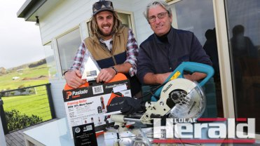 Carpentry apprentice Hamish Rose, left, says he has thoroughly enjoyed developing his skills under employer Apollo Bay builder Peter Tripp. Mr Rose won a State Apprentice of the Year honour last week.