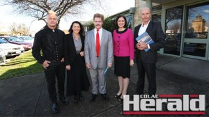 Corangamite voters will have the choice of 10 candidates at the election including, from left, Courtney Dalton, Libby Coker, Nick Steel, Sarah Henderson and Michael Lawrence.